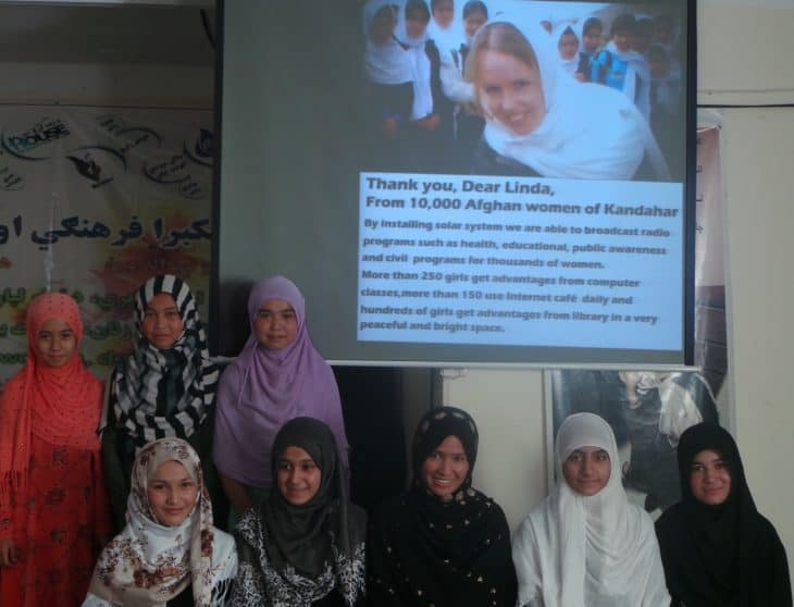 Students at Khadija Kubra girls' college in Kandahar.